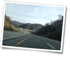As we get closer to Asheville, we enter the Blue Ridge Mountains.