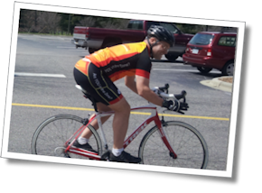 Mike Mahoney tries out a nifty Trek Domane carbon road bike at Liberty Bikes in Asheville